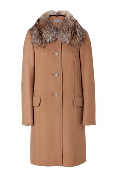 Philosophy di alberta ferretti Camel Wool Coat With Fur Collar in Beige (camel) | Lyst