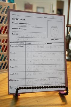 Character Report Card- love this for teaching character traits of book characters
