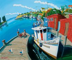 """Timo Rännäli is a NZ based artist who paints in a very distinctive """"fish-eye lens"""" style, and we have a couple of examples of his transport . Colorful Artwork, Artsy Fartsy, New Zealand, Folk Art, History, World, Painted Walls, Painting, Image"""