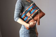 Genuine Leather Aztec Pendleton wool fold over clutch bag purse bohemian chic #VitalTemptation #ShoulderBag