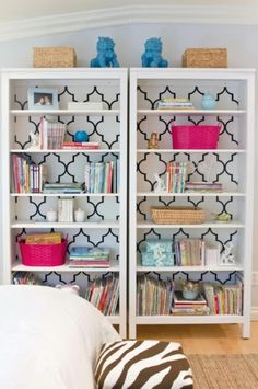 wallpaper bookcase styling-love this!!! But I'd do a diff color wall paper.