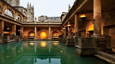 The Great Bath, built by the Romans on the site of present-day Bath, England, is fed by a thermal spring that was sacred to the Celts. Today, the pool is open to the sky, but in Roman times it was covered by a vaulted ceiling more than a hundred feet high.