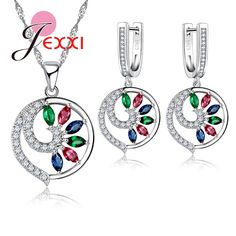 Jemmin Fashion Multicolor Crystal Peacock Woman Cute Pendant 925 Sterling Silver Round Rhinestone Necklace Earrings Jewelry Set