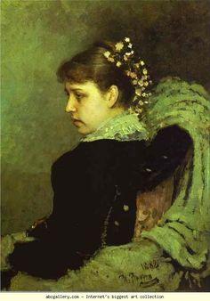 'Portret van T. A. Mamontova', 1882 / Ilja Repin (1844-1930) / Tretjakovgalerij, Moskou, Rusland.