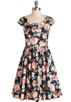 Garden Gazer Dress. Admiring your mirrors reflection while draped in this floral-print A-line is tantamount to gazing upon your very own lush garden.  #modcloth