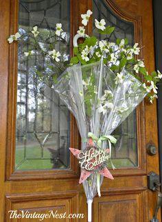Spring on my front porch ~~   Lynn @thevintagenestblog.com