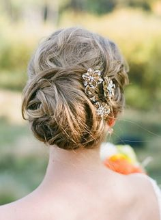 Romantic up-do. Photography By / http://jameschristianson.com,Hair Accessories By / http://saragabriel.com/