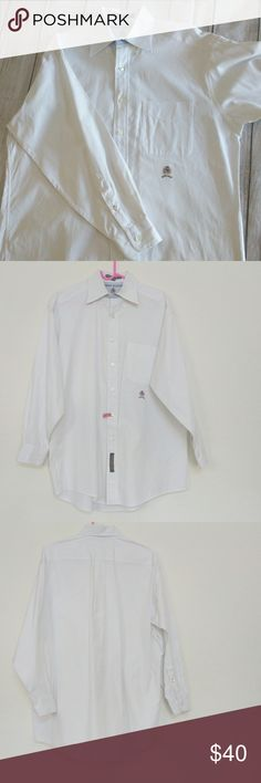 """Tommy Hilfiger men's Vintage white button up shirt Tommy Hilfiger white dress shirt size 15-32 - Gently Used - No sign of flaw  Armpit to Armpit (one way): 24"""" Armpit to bottom hem: 17.5"""" Armpit to sleeve hem: 19""""  Button down button up 