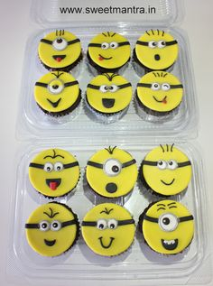 Homemade eggless, personalized, handcrafted Minions theme designer fondant cupcakes for birthday boy at Kothrud, Pune