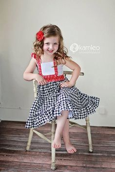 Girls Red White and Blue FlutterSleeve Dress by StitchToStitch, $45.00