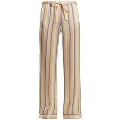 Morgan Lane Chantal striped silk pyjama trousers ($284) ❤ liked on Polyvore featuring intimates, sleepwear, pajamas, multi, silk sleep wear, silk pajamas, striped pyjamas, striped pajamas and silk pyjamas