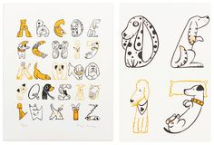 DOG ALPHABET PRINT BY HELEN LANG  Helen, you had me at A for Airedale! (And B for Bulldog… oh, and C for Corgi — you get the idea.) All this to say, that this limited edition dog alphabet screen print is pawsitivelyfurbulous! (Did you see what I did there? I'm a laugh a minute!)