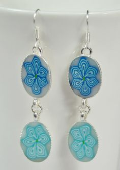 Blue and Turquoise polymer clay silver plated hanging by NuritNaor, $17.00
