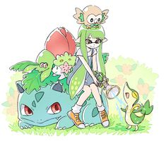 Splatoon+Pokemon = Some water for you~! Grass Pokémon including Bulbasaur. Green Inkling girl sitting on Bulbasaur Green squid on Bulbasaur