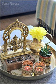 Trendy Home Decored Accessories Interior Design Coffee Tables Ethnic Home Decor, Indian Home Decor, Diy Home Decor, Room Decor, Indian Home Interior, Indian Interiors, Coffee Table Vignettes, Decorating Coffee Tables, Diwali Decorations