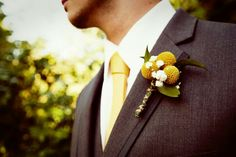 Yellow and grey wedding-rustic wedding-Rustic boutonniere