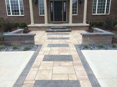 Formal brick pave and landscape design by All Natural Landscapes Brick Paver Patio, Brick Paving, 3d Design, Wall Design, Northville Michigan, Paving Pattern, White Lake, Library Ideas, Landscape Design