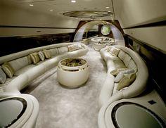 Private jet luxury interior
