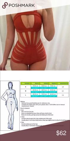 Monokini swimsuit Bodycon Monokini swimsuits in trending gorgeous rich burnt orange color. Please see size chart for sizing. Swim Bikinis