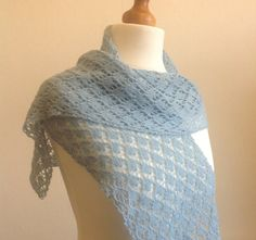 Sky Blue Hand Knitted Lace Wrap / Scarf by Snugglescuddles on Etsy, £35.00