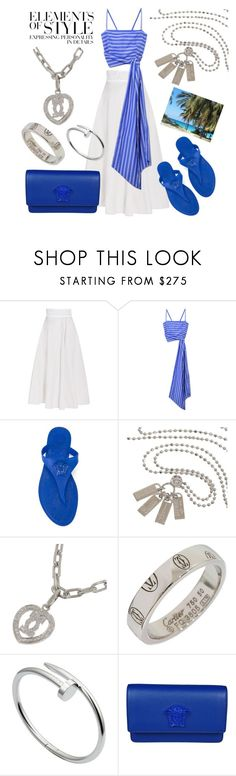 """Summer vacation"" by ellenfischerbeauty ❤ liked on Polyvore featuring Bottega Veneta, MDS Stripes, Versace, Vera Wang, Gucci and Cartier"