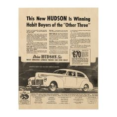 """The New 1940 HUDSON Automobile WoodSnap Wood Prints; $84.95 - 11""""X14"""" - #stanrail -The New 1940 HUDSON : Automobile ! The Most Amazing Lowest Price Car Ever Built. Starting at $670.00. - Each print is produced with eco-friendly ink on high quality birch plywood. The beautiful wood grains shine through with the omission of white ink during the printing process creating a statement piece perfect for any space. WoodSnap, the original print on wood company!   #stanrails_store"""