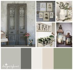 Rustic Vintage color palette, Weathered Wrought Iron with accents of grey, beige, green and cream