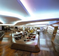 British icons join forces to celebrate collaborative prowess... Virgin Atlantic, Hong Kong Airport Lounge, Repurposed Furniture, Pallet Furniture, Sala Vip, Gatwick Airport, Office Lounge, Commercial Interiors, Ceiling Design