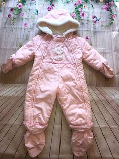 73af5c8ae Girl's Vintage Quiltex Pink Bunny Zippered Snowsuit Size 12M | Clothing,  Shoes & Accessories