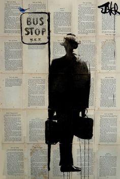 A tinta e nanquim de Loui Jover - Geekness Melbourne Art, Newspaper Art, Bus Stop, Arte Pop, Collage Art, New Art, Photo Art, Book Art, Saatchi Art