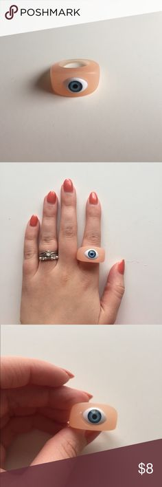 Eyeball Ring 👀 Fun little oddity ring featuring a blue eyeball and peach colored hard plastic band. Jewelry Rings