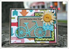 Pure Innocence I Wheelie Like You; Bicycle Die-namics; Mix & Match Banners Die-namics; Sunshine Die-namics; Rectangle STAX Set 1 and Set 2 Die-namics - Linda McClain
