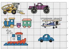 Macchinine trenino camion punto croce schema