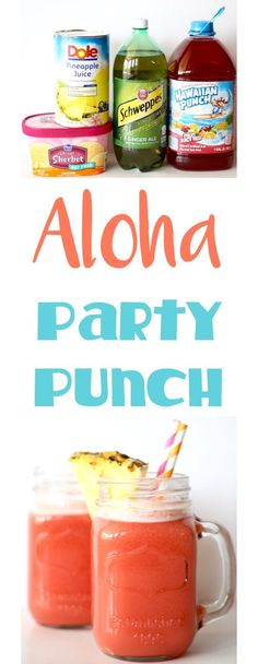 Party Punch Recipes!  Kids and Adults will LOVE this Easy Aloha Punch Recipe.  Just 4 Ingredients and SO delicious... always the hit of the parties!! | TheFrugalGirls.com