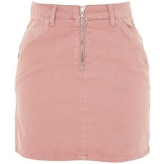 TopShop Petite Half Zip Denim Skirt (185 PEN) ❤ liked on Polyvore featuring skirts, mini skirts, topshop, knee length denim skirt, topshop skirts, red rose skirt, red skirt and denim skirt