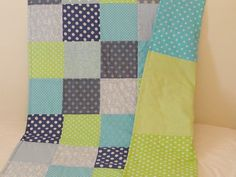 SALE  Baby boy quilt blanket blue and green baby and by SweetnCozy, $70.00