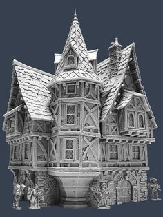 Houses in the medieval towns reflected the rank of those living in them. Mansions where big and luxurious residences built by wealthy nobles. Fantasy City, 3d Fantasy, Fantasy House, Medieval Fantasy, Medieval Houses, Medieval Town, Casa Estilo Tudor, Best Tiny House, 3d Modelle