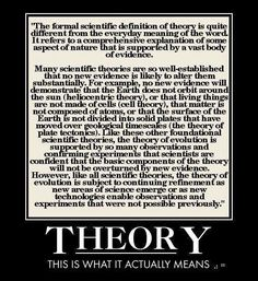 What the word 'theory' actually means with regard to Science. In Science, 'theory' does not mean it's just an idea, or an opinion. That is the definition of 'theory' with regard to religious belief's, for example. Anti Religion, Religious People, Scientific Method, Science Education, Learn Science, Atheism, Critical Thinking, Definitions, Wisdom