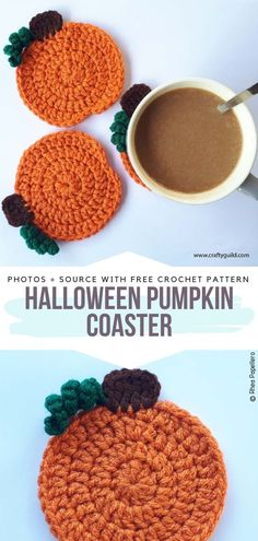 Halloween Pumpkin Coaster Free Crochet Pattern Adorn your table with a set of pumpkin coasters that are so quick and easy to crochet. Whatever the occasion your guests will surely feel the warmth of your home. You can also create a fall decoration with a pumpkin garland - simply weave a string through the stems. #crochetpumpkin #crochetcoasters Crochet Kitchen, Crochet Home, Free Crochet, Crochet Coaster Pattern Free, Crochet Pumpkin Pattern, Free Pattern, Crochet Fall Decor, Crochet Decoration, Crochet Fall Coasters