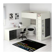 STUVA Loft bed with 2 doors, white, black white/black Twin Girl Room, Girls Bedroom, Bedroom Decor, Bedrooms, Stuva Loft Bed, Loft Beds, Ikea Loft, Murphy Bed Kits, Ikea Stuva