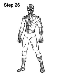 Learn how to draw Marvel's Spider-Man (Full Body) with this step-by-step tutorial and video. A new drawing tutorial is uploaded every week, so stay tooned! Avengers Coloring Pages, Spiderman Coloring, Superhero Coloring, Cartoon Drawing Tutorial, Cartoon Girl Drawing, Cartoon Drawings, Spiderman Sketches, Spiderman Drawing, Easy Drawing Images