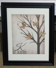 Perfect Family Framed Monogram Christmas or Housewarming Gift with established date and origami 3D butterflies   -   BEAUTIFUL  gold or any color