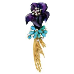 Gold, Platinum, Carved Amethyst, Turquoise and Diamond Flower Clip-Brooch