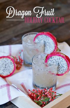Dragon Fuit Holiday: 3/4 of a dragon fruit (save the other 1/4 to garnish the glasses) 2 ounces light rum 1 ounce fresh squeezed lime juice 2 tablespoons agave Ginger beer #Drinks #Cocktail