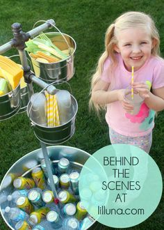 Behind the Scenes - Beverage Station! Another great idea from my friend Kristyn! And isn't Lily so adorable!!!