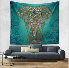 Such beauty and majesty!  Elephant & Lotus Aubusson Mandala Boho Tapestry