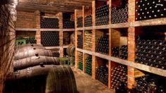 cave à vins -murs-brique-supports-bouteilles-briques