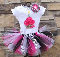 4bbb6cf4343ff6 SASSY PINK ZEBRA -Birthday Girl Tutu Skirt and Cupcake Onesie Set with Free  Flower Clip