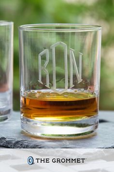 The classic monogram on these personalized rocks glasses is timeless. Susquehanna Glass Company has been hand etching glass in the USA for over 100 years, and they will etch your chosen letters with the attention to detail they're known for. Each letter is painstakingly hand cut by holding the glass against a rotating stone wheel. The result is a crisp finish that will last for years. Monogram Design, Monogram Letters, Great Gifts For Dad, Gifts For Him, Glass Company, Fathers Day Gifts, Crisp, Initials, Rocks