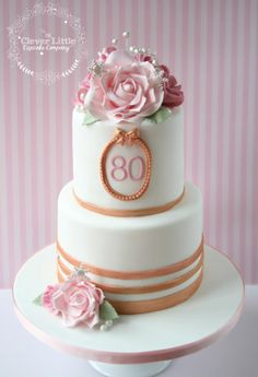 80th Birthday Cake - Cake by The Clever Little Cupcake Company